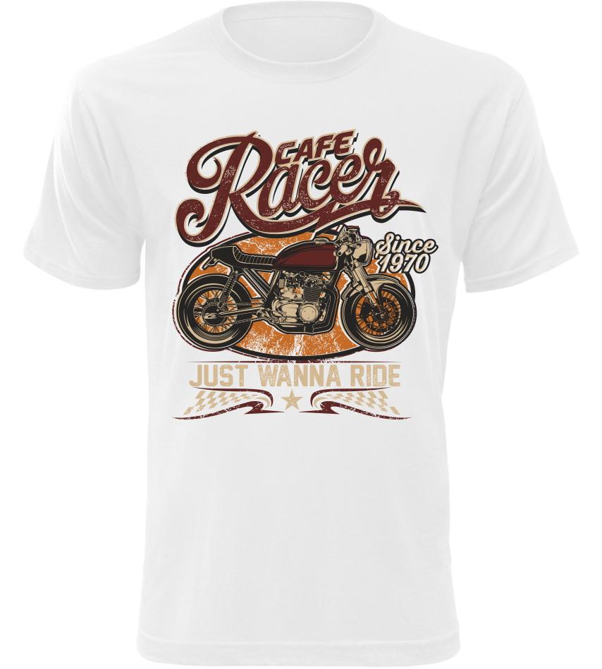 Pánské moto tričko Cafe Racer 1970 bílé