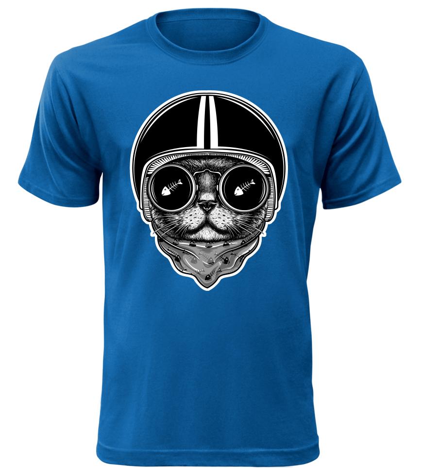 Pánské moto tričko Cat Rider modré