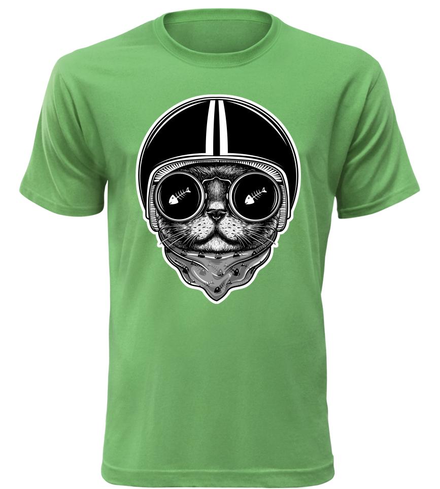 Pánské moto tričko Cat Rider zelené
