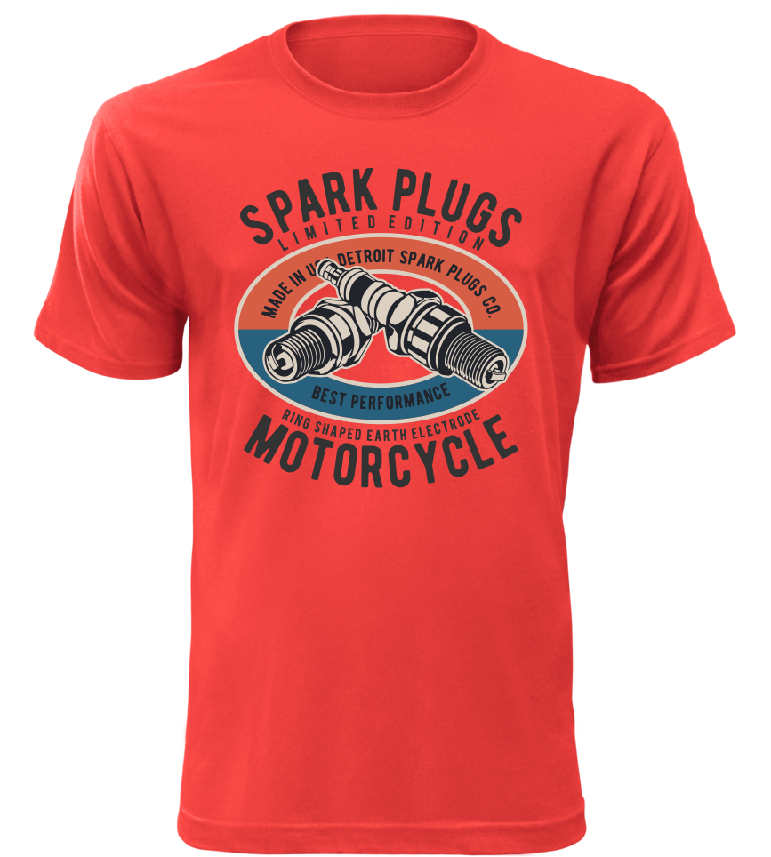Pánské moto tričko Spark Plugs Motorcycle červené