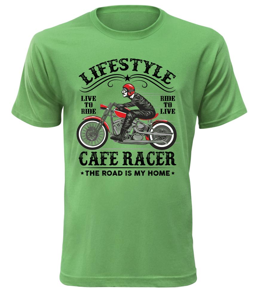 Pánské motorkářské tričko Lifestyle zelené
