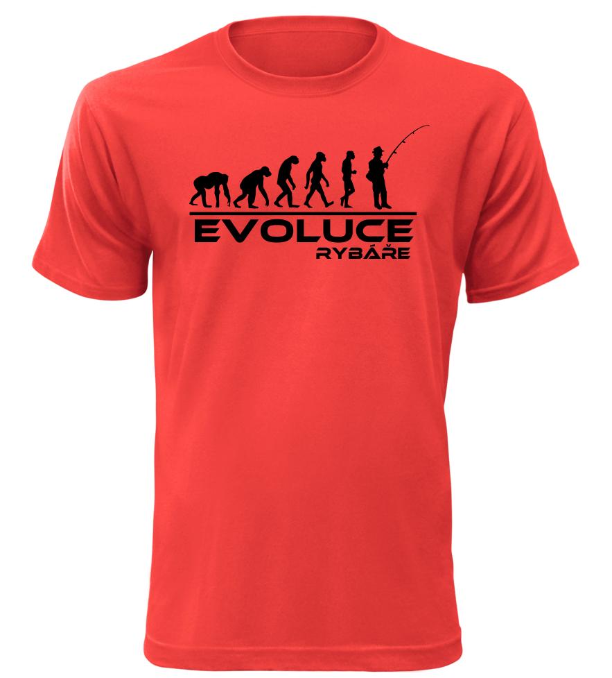 Pánské tričko evoluce rybáře červené