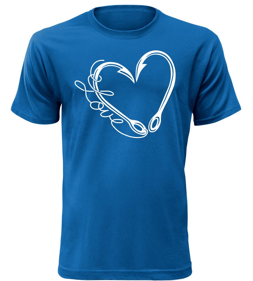 Pánské tričko pro rybáře miluji rybolov modré