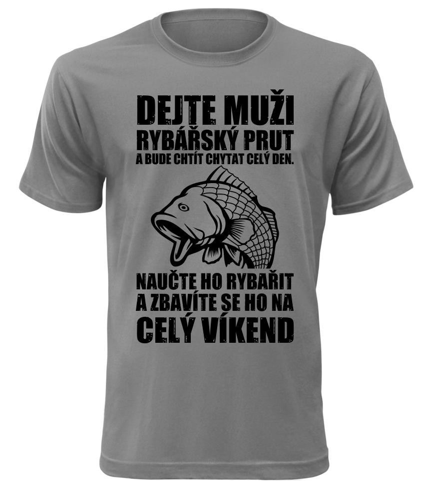 Pánské vtipné tričko jak se zbavit rybáře šedé