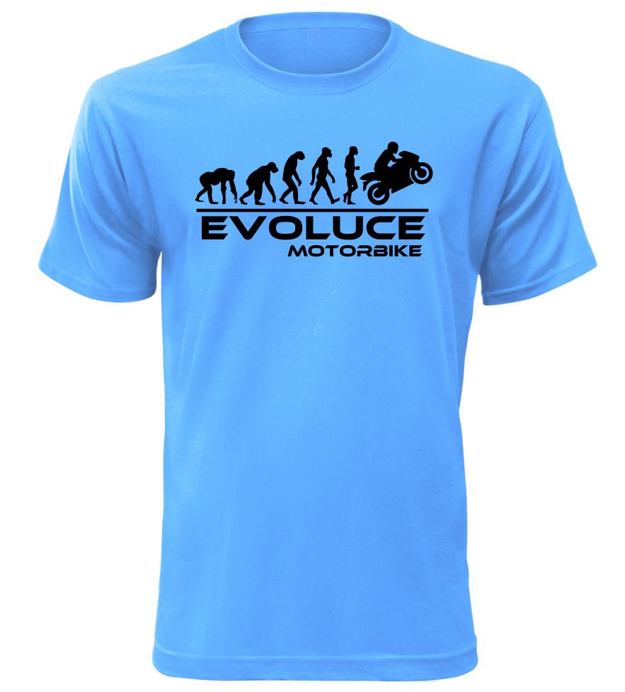 Pánské tričko evoluce motorbike azurové