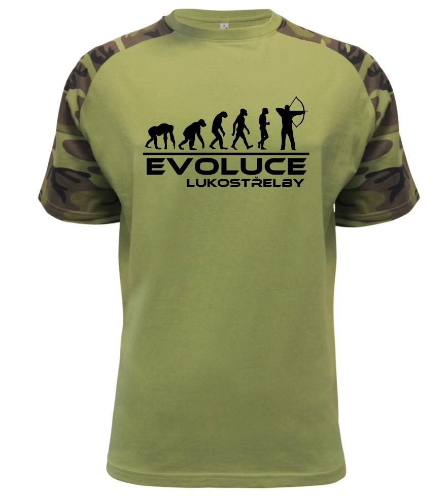 5bdf1cd1b540 Pánské tričko evoluce lukostřelby military