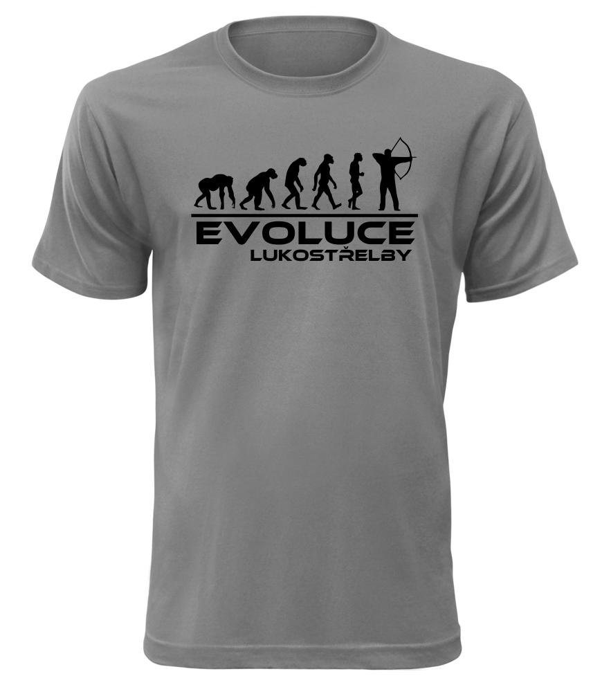 Pánské tričko evoluce lukostřelby šedé