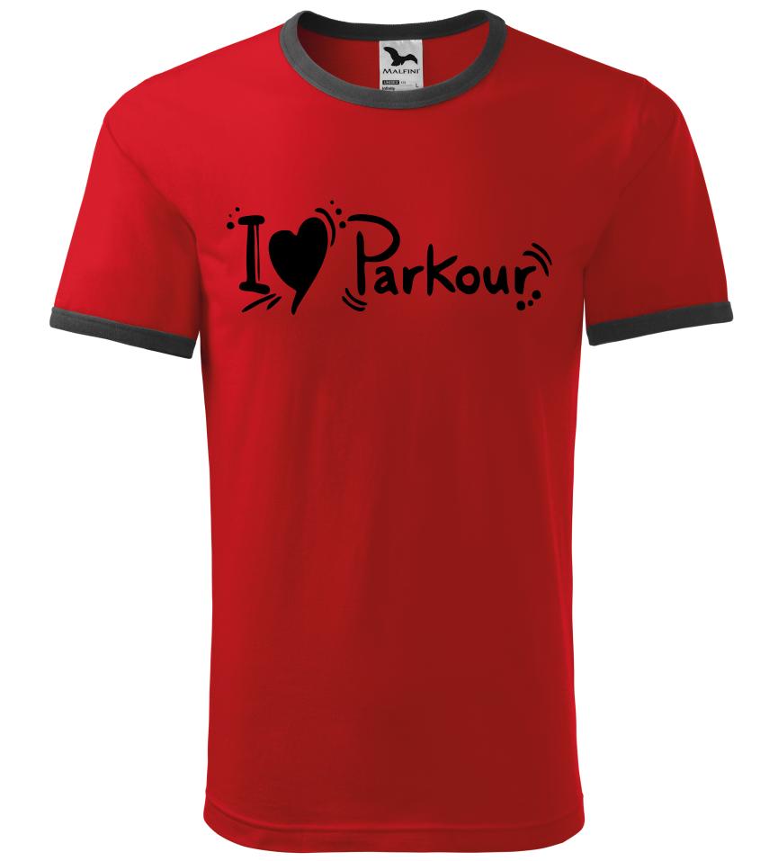 7343fb29fff1 Pánské a dětské tričko I love Parkour červené