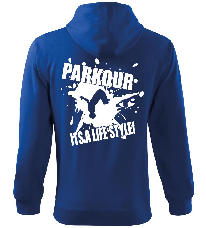 Pánská a dětská mikina Parkour je můj život modrá