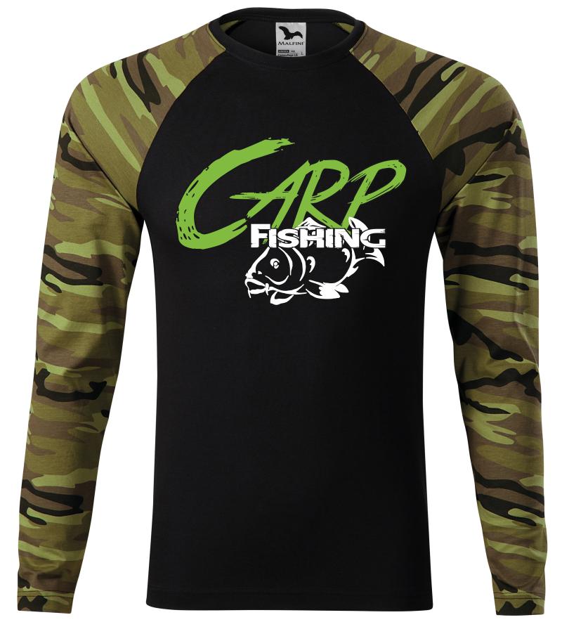 Pánské tričko pro rybáře CARP fishing zelená camouflage