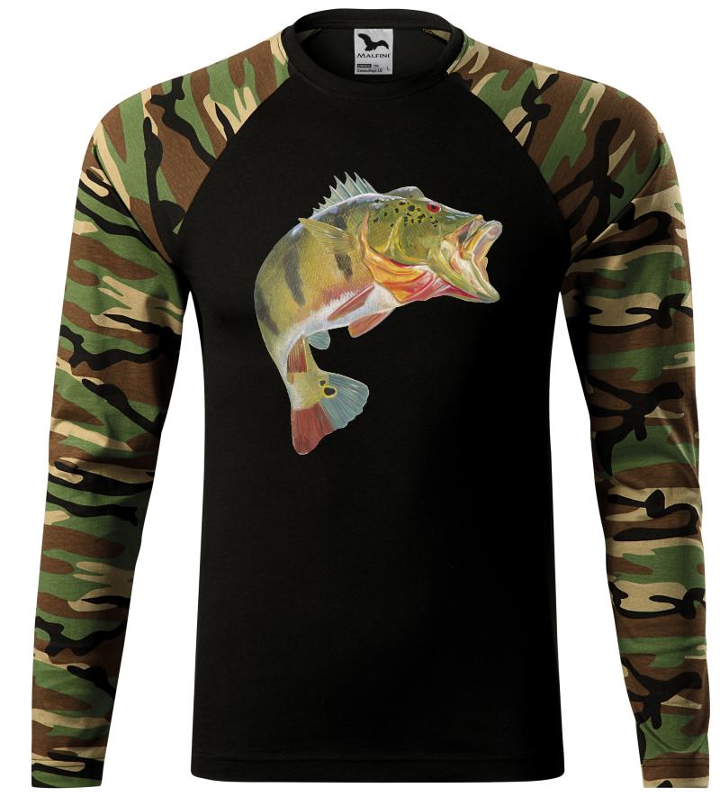 Pánské tričko s okounem hnědá camouflage