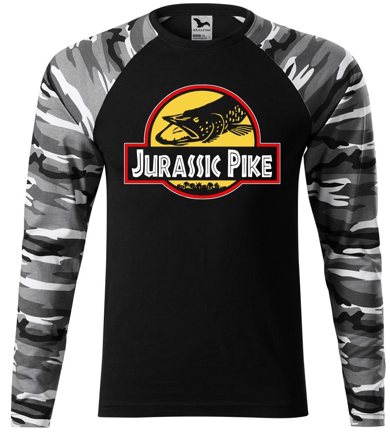 Pánské rybářské tričko Jurassic Pike šedá camouflage