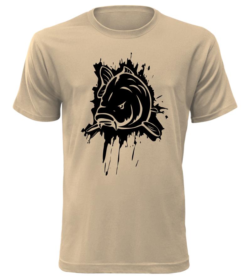 Pánské tričko pro rybáře s kaprem pískové