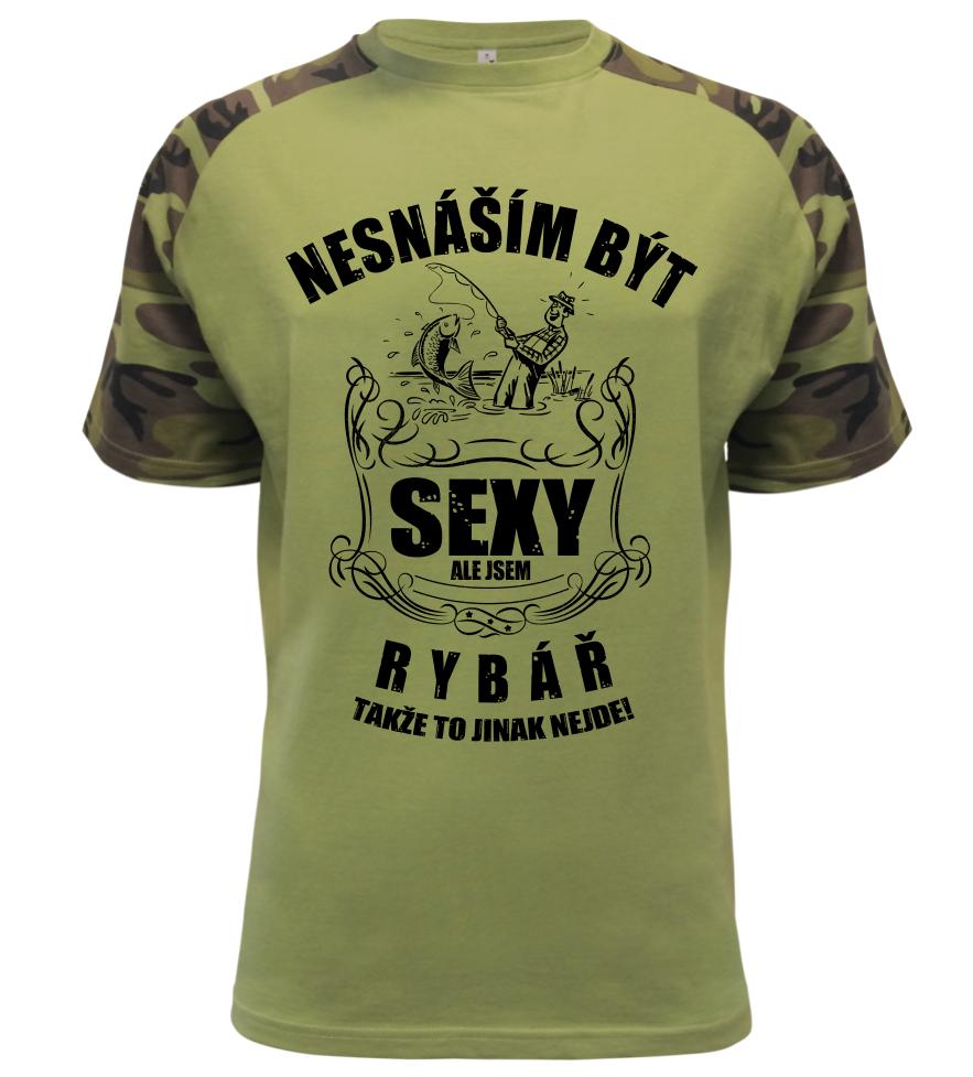 Pánské tričko nesnáším být sexy ale jsem rybář military