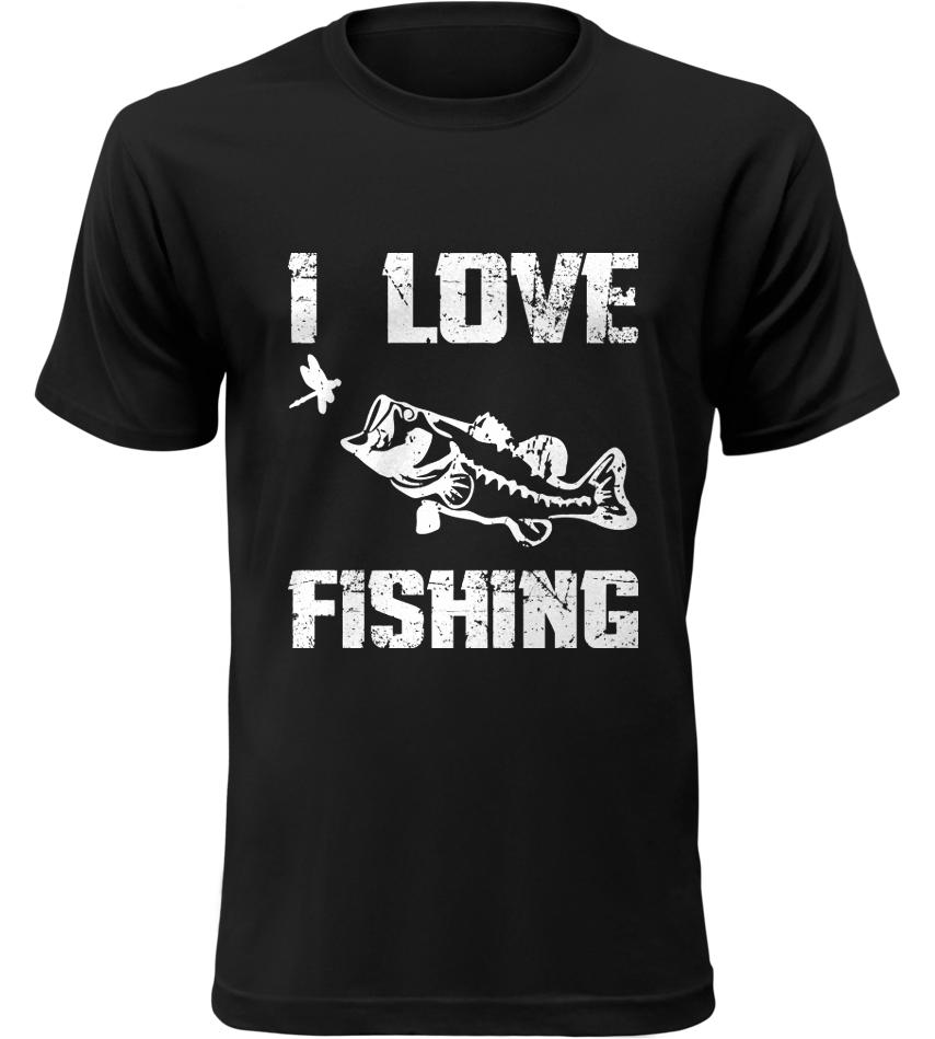 Pánské Rybářské tričko I Love Fishing černé