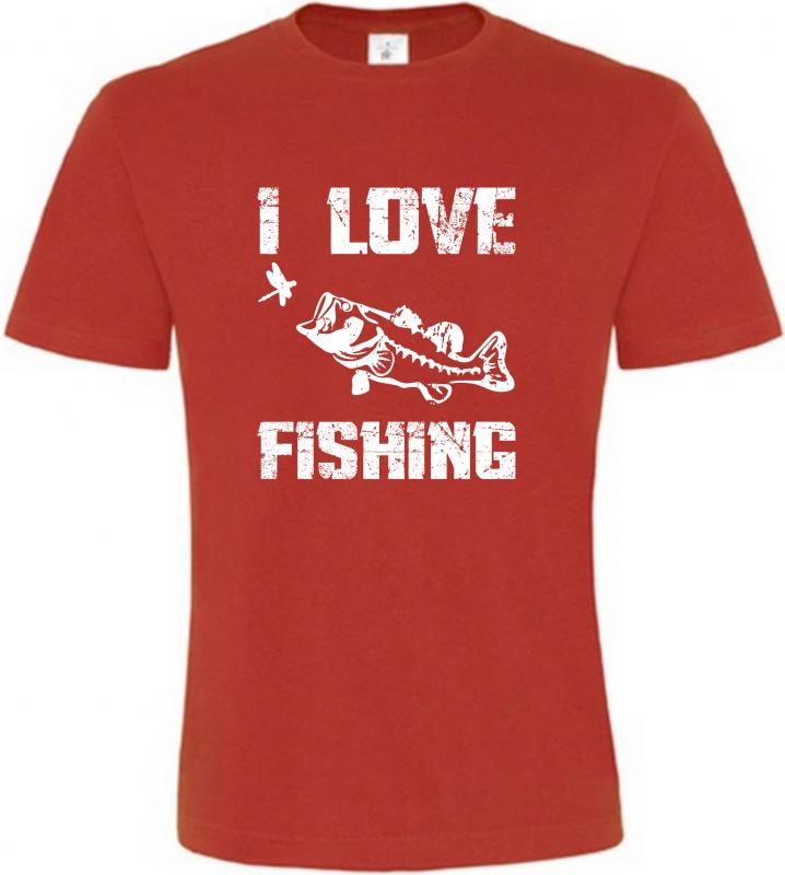 Pánské Rybářské tričko I Love Fishing červené
