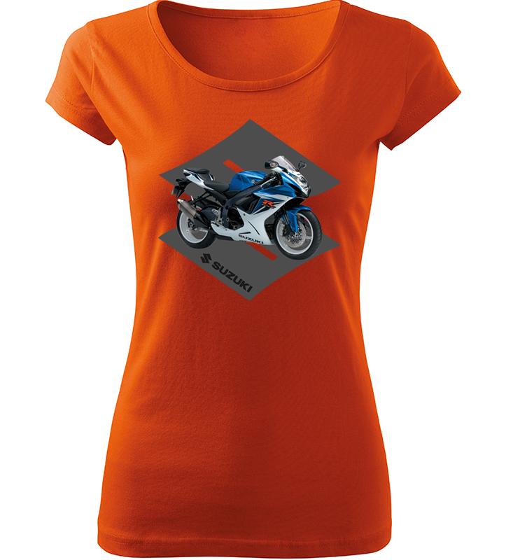 06e3a2ca3 Dámské tričko s motorkou Suzuki oranžové | Kvalitní trička s potiskem