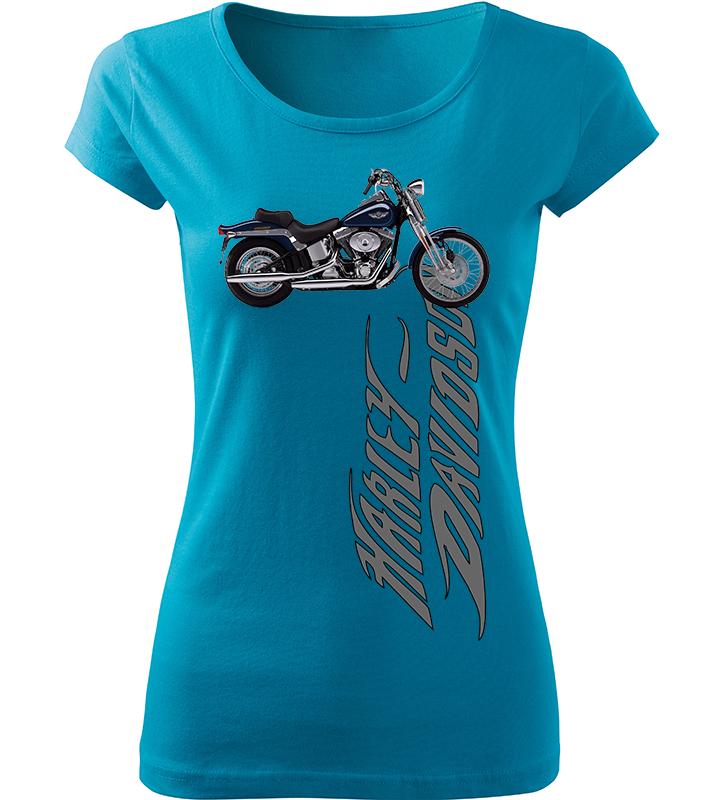 Dámské tričko s motorkou Harley Davidson tyrkysové