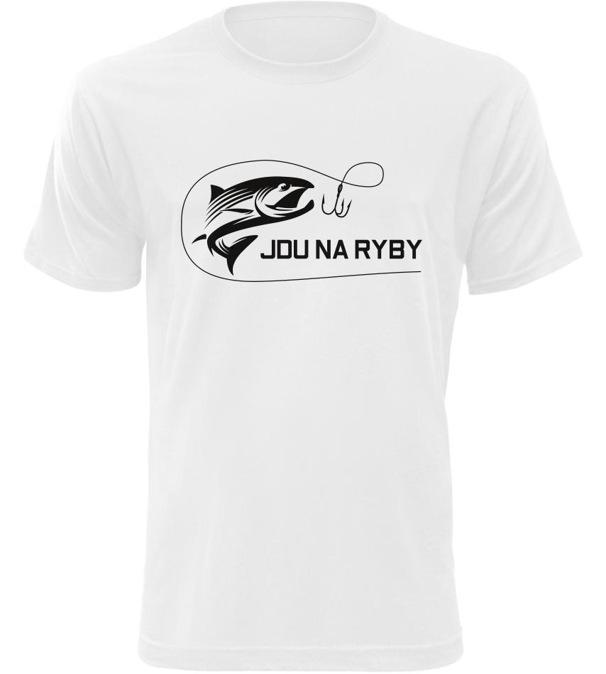 Pánské rybářské tričko Jdu na ryby bílé