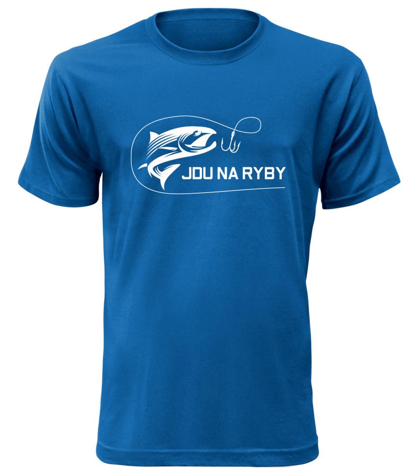 Pánské rybářské tričko Jdu na ryby modré