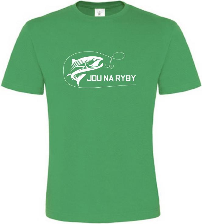 Pánské rybářské tričko Jdu na ryby zelené