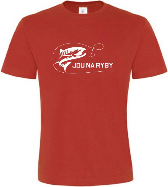 Pánské rybářské tričko Jdu na ryby červené