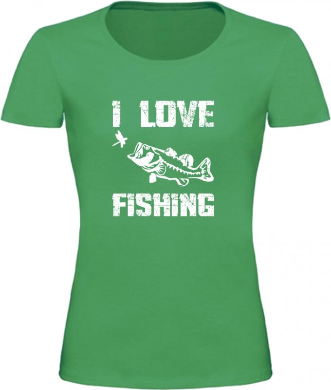 Dámské Rybářské tričko I Love Fishing zelené