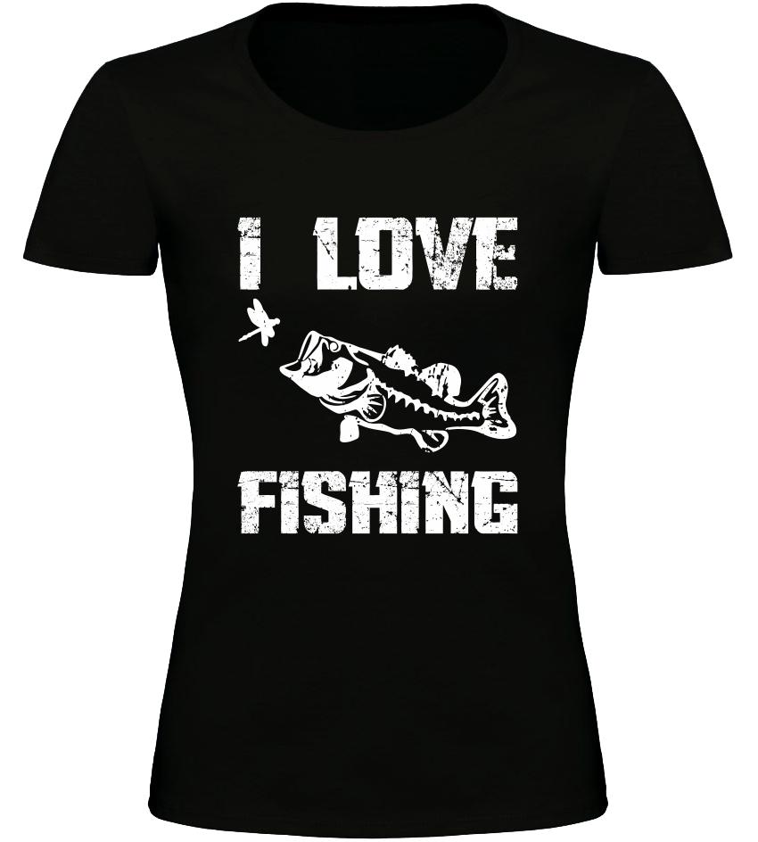 Dámské Rybářské tričko I Love Fishing černé