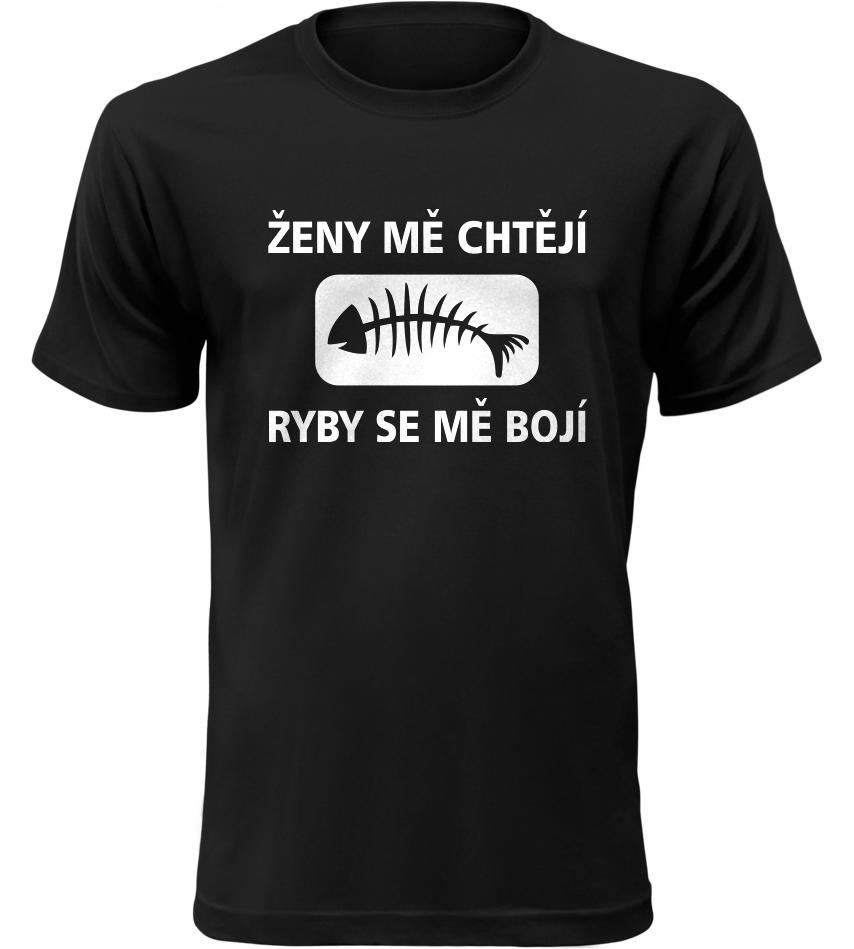Pánské rybářské tričko Ženy mě chtějí černé