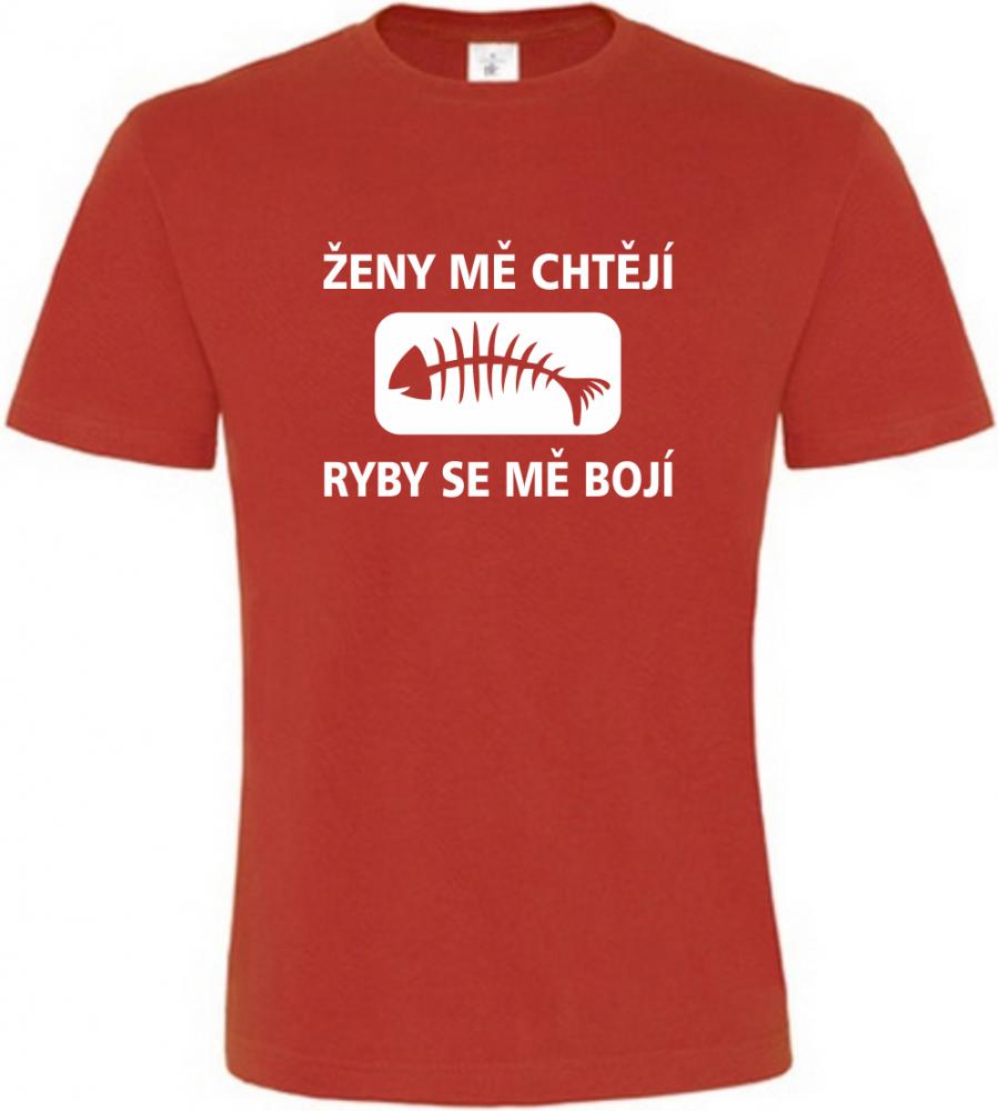 Pánské rybářské tričko Ženy mě chtějí červené