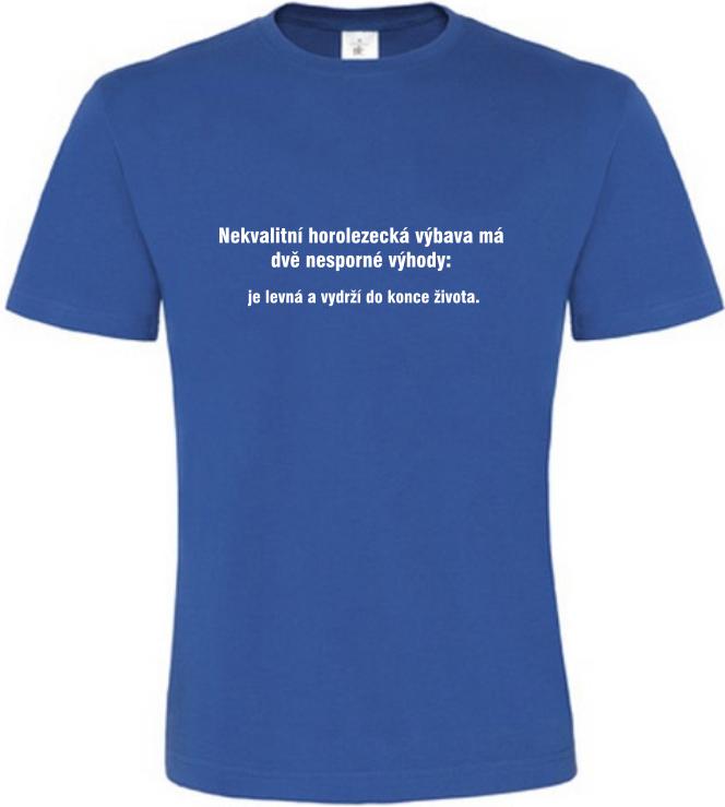 Pánské vtipné tričko Horolezecká výbava modré