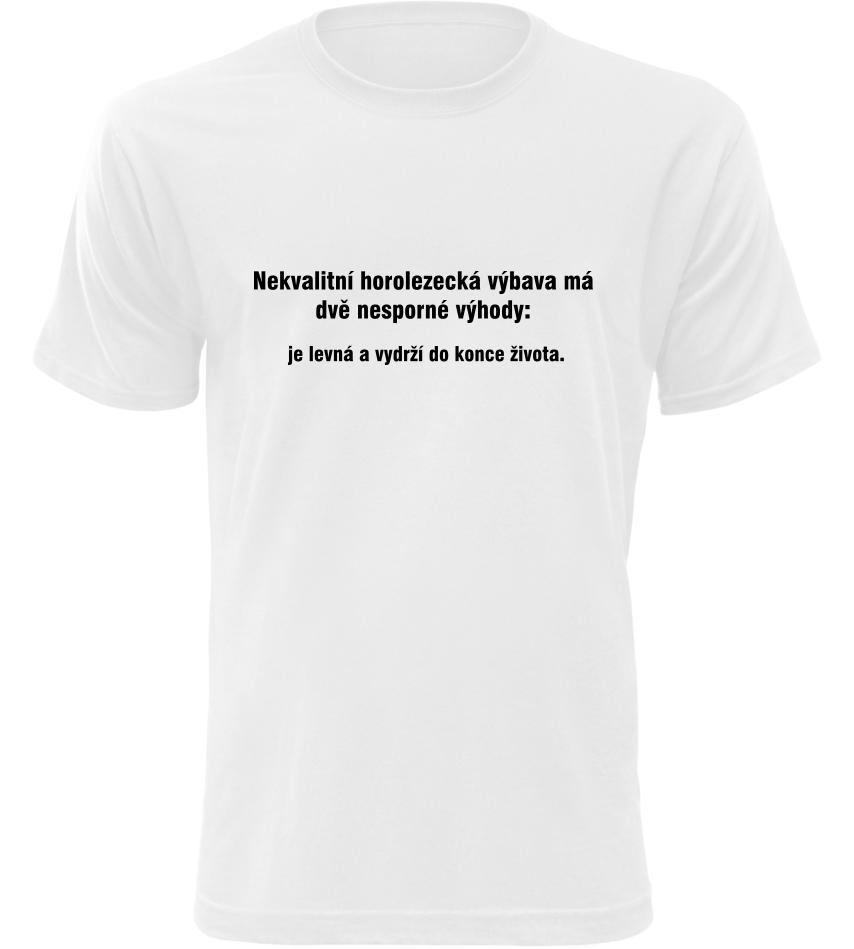 Pánské vtipné tričko Horolezecká výbava bílé  d28b150850