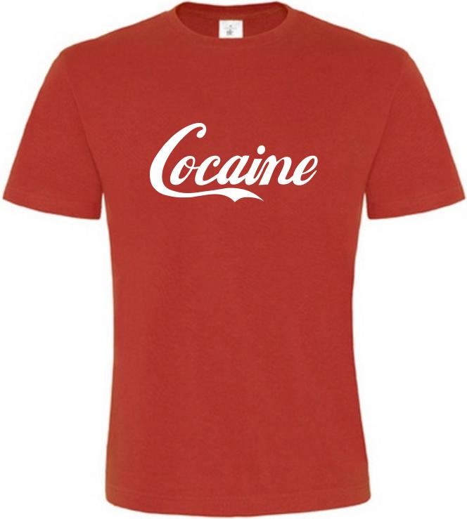 Pánské vtipné tričko Cocaine červené  3cef75df03