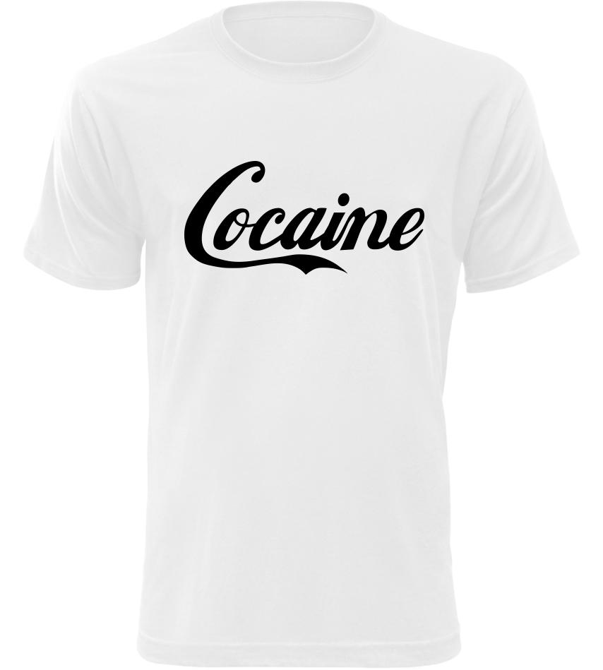 135ca0bb12ee Pánské vtipné tričko Cocaine bílé