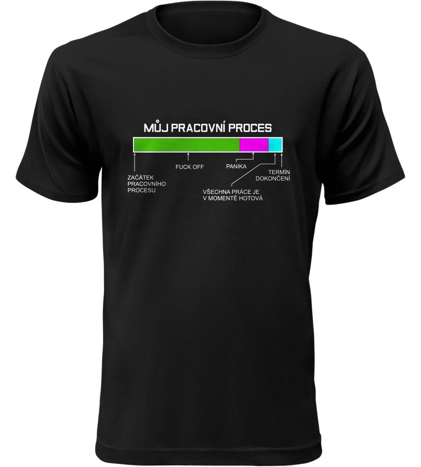 Pánské vtipné tričko Pracovní proces černé
