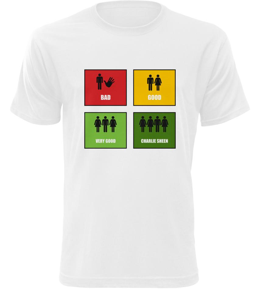 Pánské vtipné tričko Stupnice sexu bílé