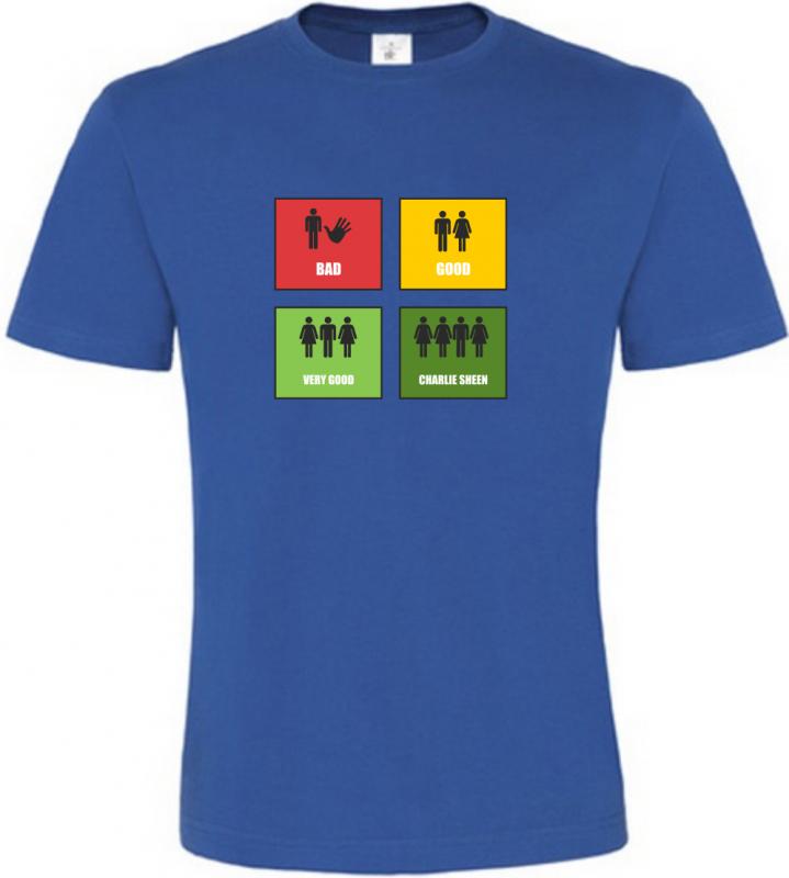 Pánské vtipné tričko Stupnice sexu modré