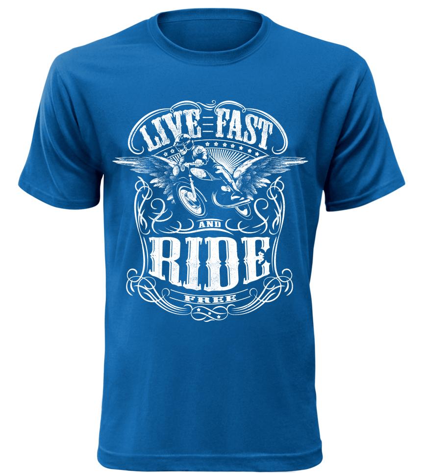Live Fast Ride modré motorkářské tričko pánské