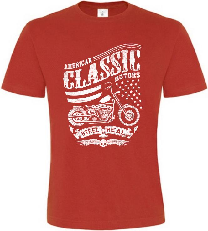 Pánské motorkářské tričko American Classic Motors červené