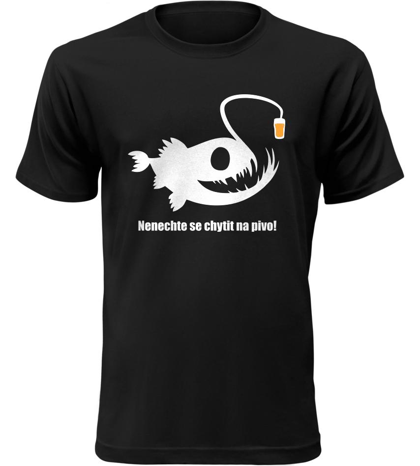 Pánské rybářské tričko POZOR na pivo černé