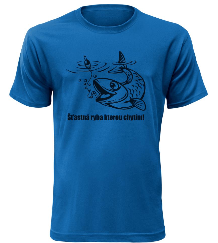 Pánské rybářské tričko Šťastná ryba kterou chytím modré