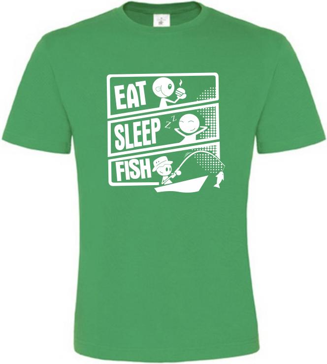 Pánské rybářské tričko Rybářuv den zelené