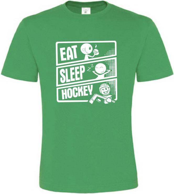 Pánské tričko JÍDLO SPÁNEK HOKEJ zelené