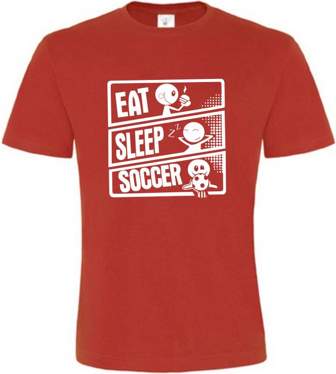 Pánské tričko JÍDLO SPÁNEK KOPANÁ červené