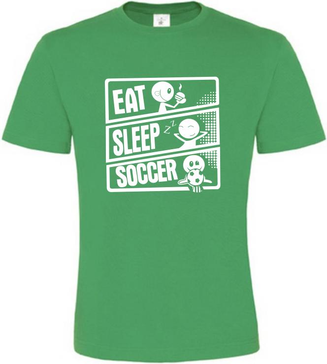 Pánské tričko JÍDLO SPÁNEK KOPANÁ zelené