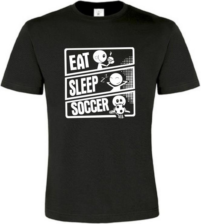 Pánské tričko JÍDLO SPÁNEK KOPANÁ černé