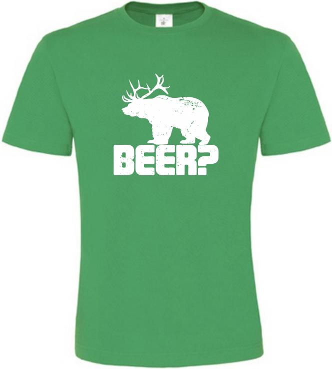 Pánské vtipné tričko BEER zelené