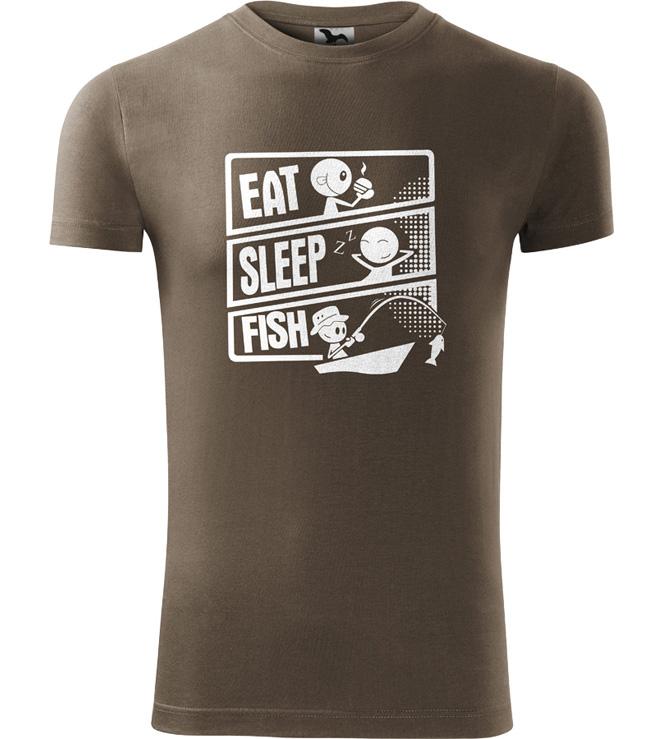 Pánské rybářské tričko Rybářuv den army