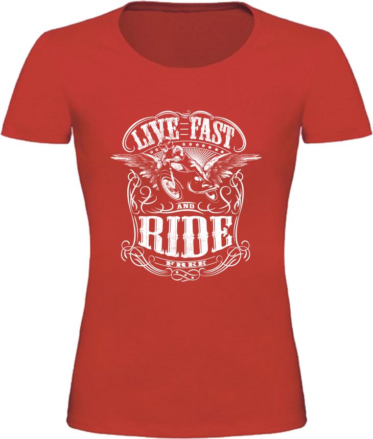 Dámské motorkářské tričko Live Fast Ride červené