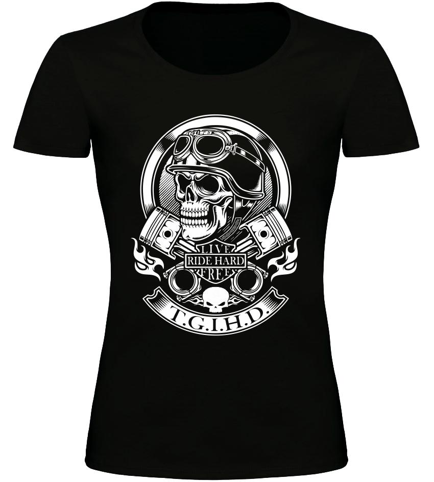 Dámské motorkářské tričko Live Ride Hard Free černé